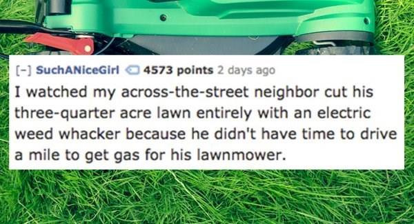 Lawn - (] SuchANiceGirl 4573 points 2 days ago I watched my across-the-street neighbor cut his three-quarter acre lawn entirely with an electric weed whacker because he didn't have time to drive a mile to get gas for his lawnmower.
