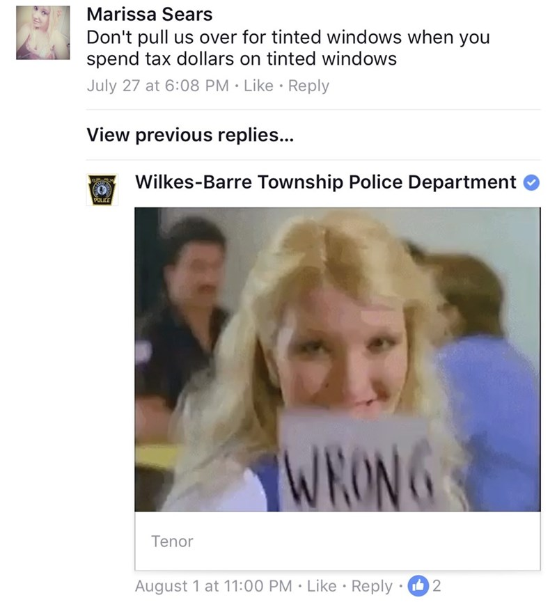 Facial expression - Marissa Sears Don't pull us over for tinted windows when you spend tax dollars on tinted windows July 27 at 6:08 PM Like Reply View previous replies... Wilkes-Barre Township Police Department POUCE WRONG Tenor August 1 at 11:00 PM Like Reply. 2