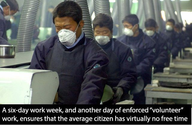 "Job - A six-day work week, and another day of enforced ""volunteer"" work, ensures that the average citizen has virtually no free time"