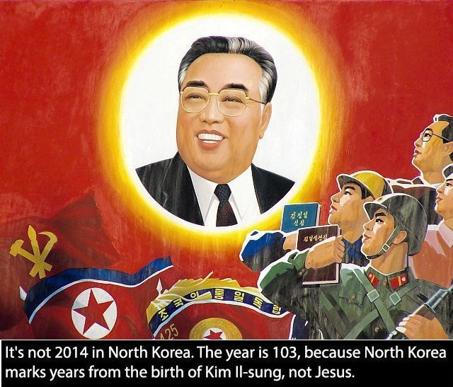 Cartoon - It's not 2014 in North Korea. The year is 103, because North Korea marks years from the birth of Kim Il-sung, not Jesus. 25