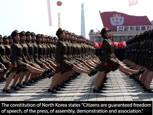 "The constitution of North Korea states ""Citizens are guaranteed freedom of speech, of the press, of assembly, demonstration and association."""
