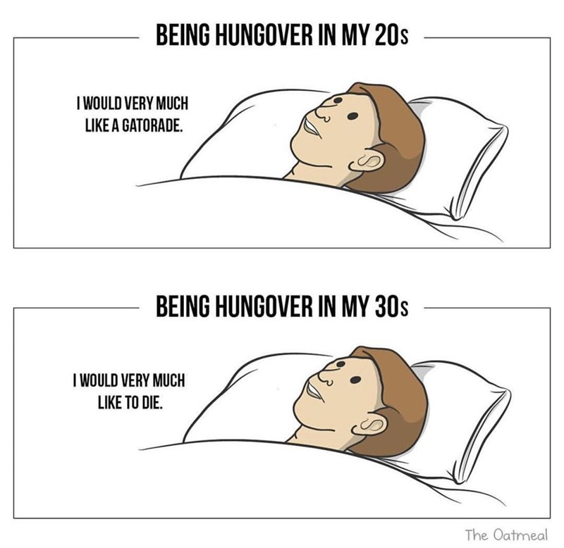 Funny meme about the difference between hangovers in your 20s and your 30s.