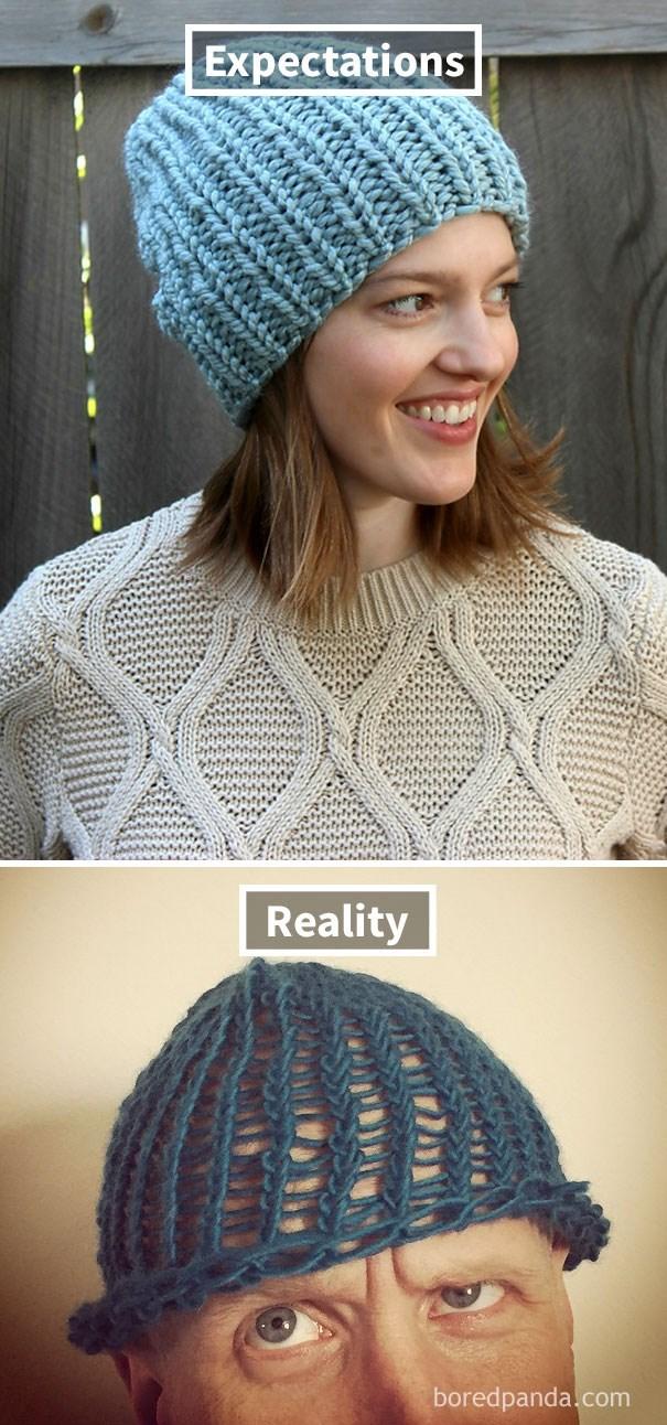 Knit cap - Expectations Reality boredpanda.com