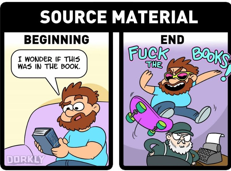 Cartoon - SOURCE MATERIAL END BEGINNING FUCK K EKS I WONDER IF THIS WAS IN THE BOOK THE DORKLY MARTIN