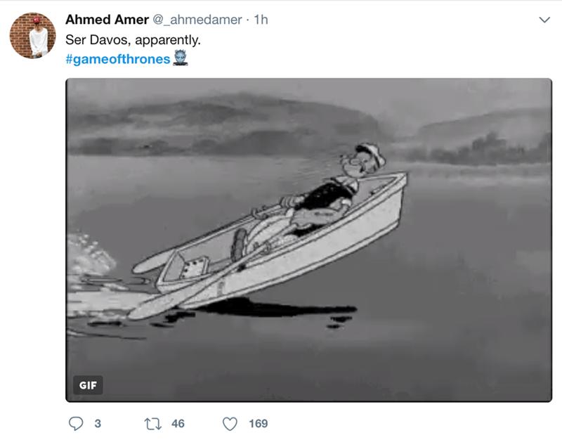 Water transportation - Ahmed Amer @_ahmedamer 1h Ser Davos, apparently. #gameofthrones GIF 3 46 169