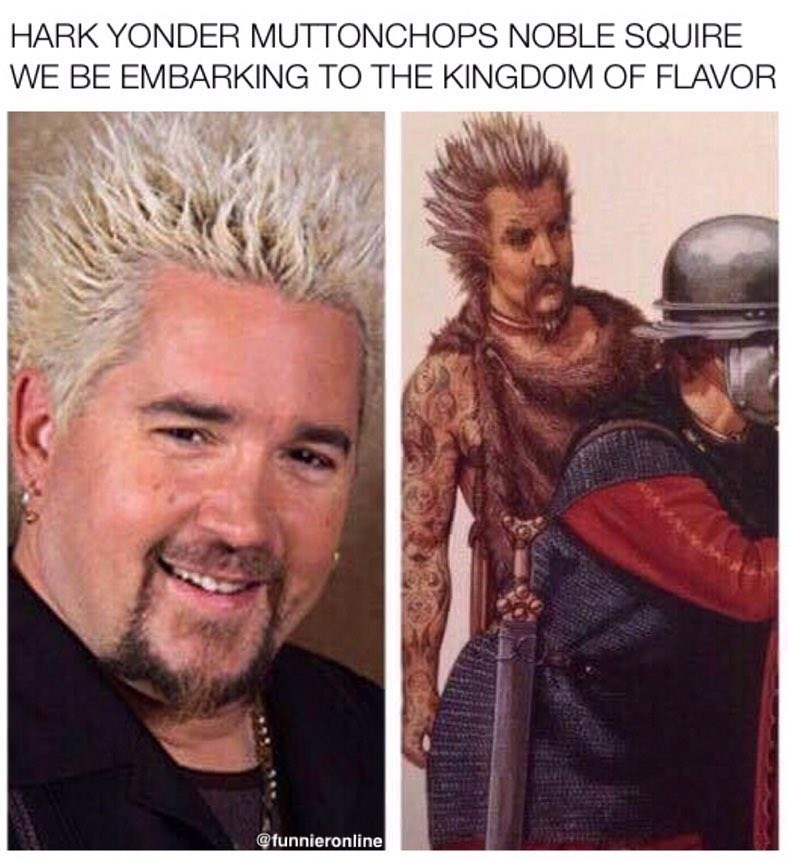 Funny meme comparing drawing to guy fieri.