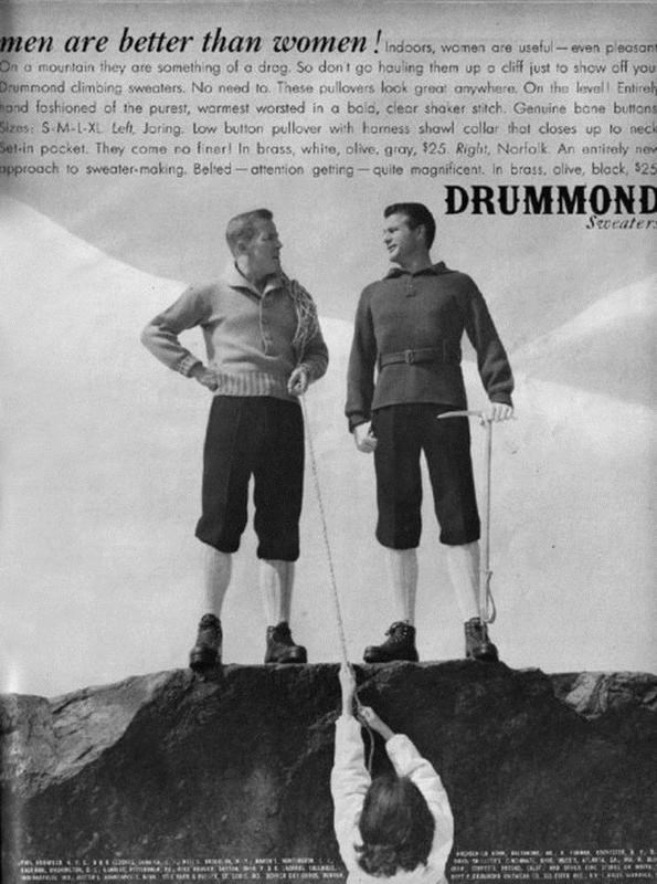 Stock photography - men are better than women!ndos, On a mountain they are something of a drog. So don t go houling them up o ciff just to show off your Drummond climbing sweaters. No need to. These pullovers look grea anywhere. On the level Entireh ond foshioned of the purest, warmest worsted in a bola, clear shaker stitch. Genuine bane buttons Sizes: S M-L-XL Lefh, Joring. low button pullover with horness shawl collar thot closes up to neck Set-in pocket. They come ro fner! In brass, white, ol
