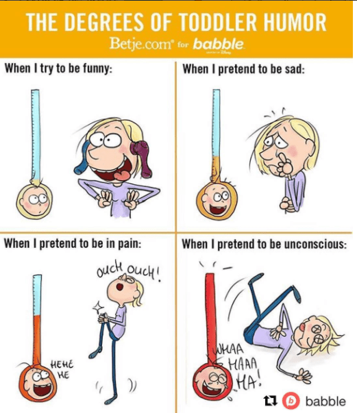 Cartoon - THE DEGREES OF TODDLER HUMOR Betje.com for babble When I pretend to be sad: When I try to be funny: When I pretend to be in pain: When I pretend to be unconscious: Cck ouch! UMAA HAAA HA t babble HEHE HE