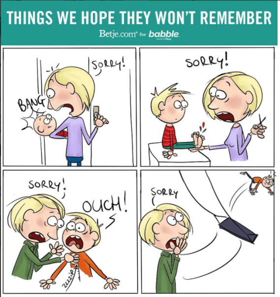 Cartoon - THINGS WE HOPE THEY WON'T REMEMBER Betje.com for babble Sotuy! SolRy! BANG SORRY 2zzzi
