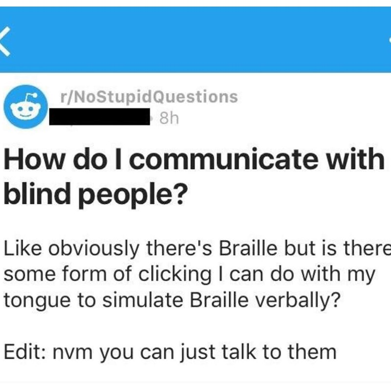 Funny meme about blind people.