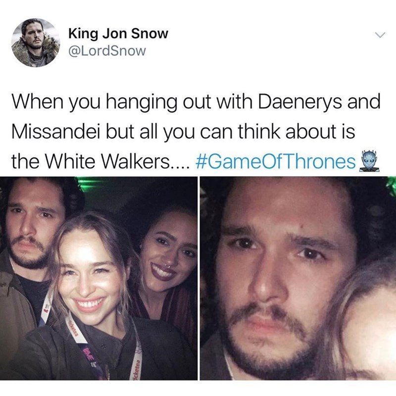 Funny meme about Game of Thrones, Jon Snow hanging out with Daenerys.