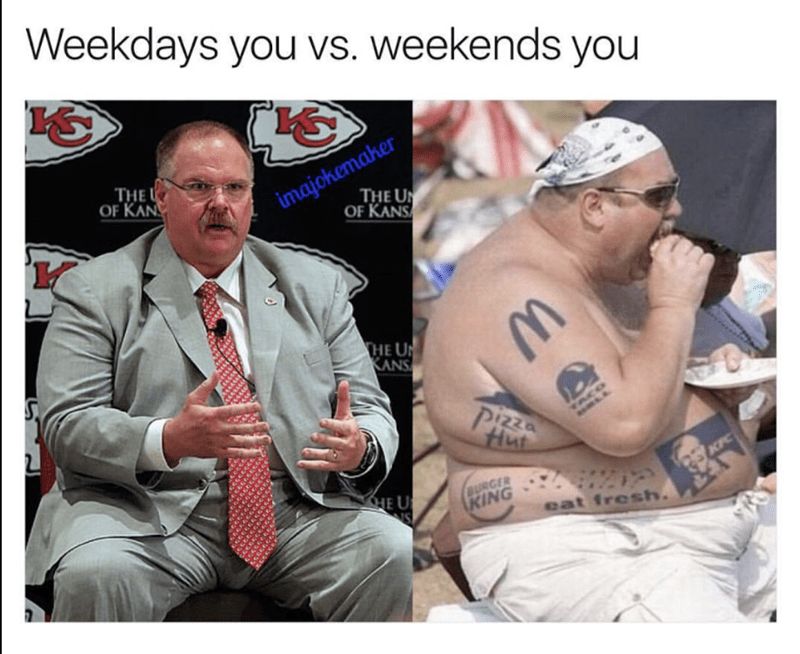 Fat coach in a suit and wearing bandana shirtless withe tattoos of fast food joints.