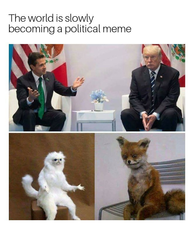 Funny meme about how the world is slowly becoming a political meme.