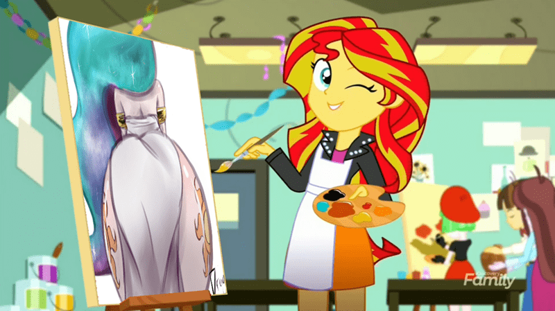 equestria girls summertime shorts the art of friendship princess celestia sunset shimmer - 9064702720