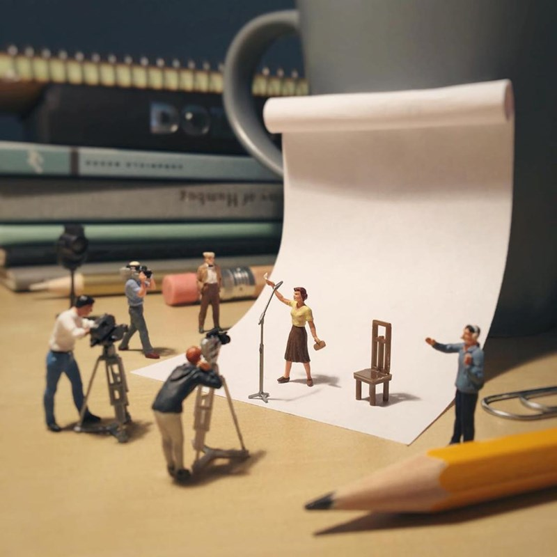 Miniature photo shoot scene