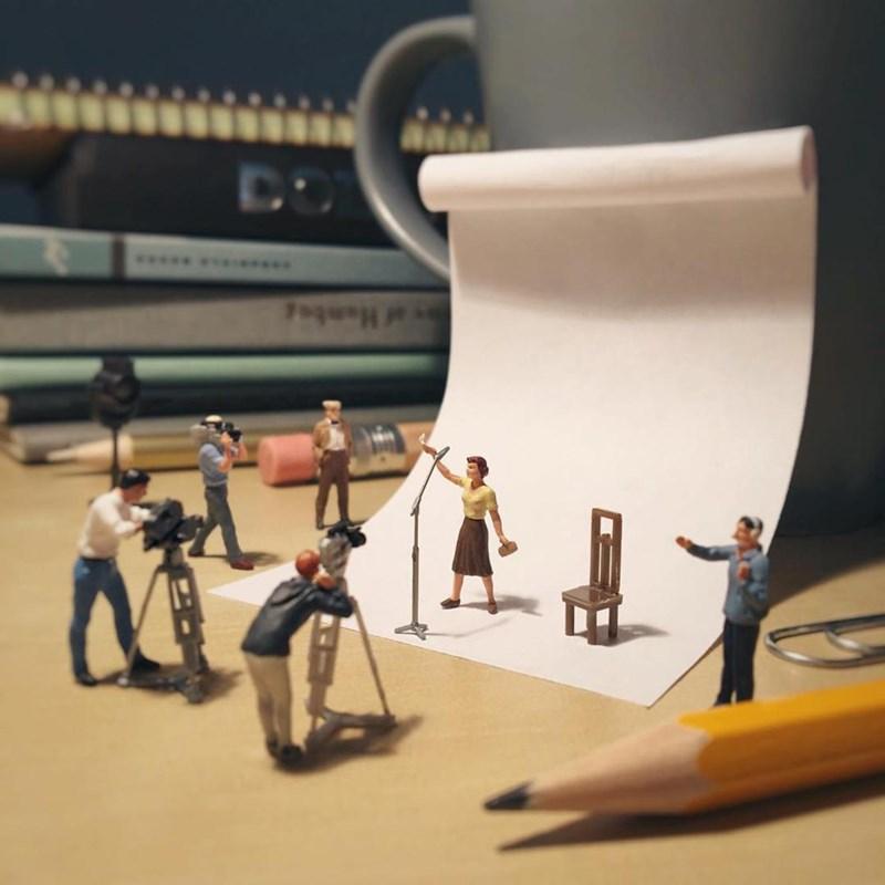 Miniature photo shoot scene