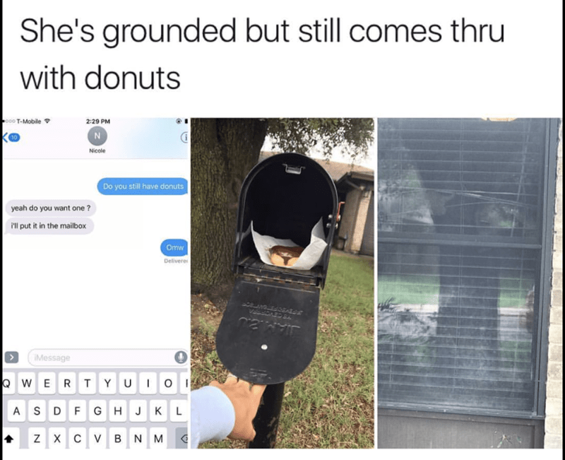 Product - She's grounded but still comes thru with donuts o0 T-Mobile 2:29 PM Nicole Do you still have donuts yeah do you want one ? Pll put it in the mailbox Omw Delivere JAM IMessage WERT YU O ASD F GHJ KL ZX CV BNM