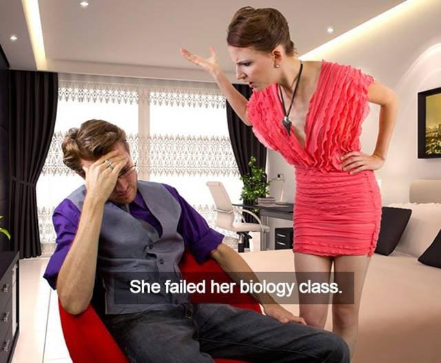 Fashion design - She failed her biology class.