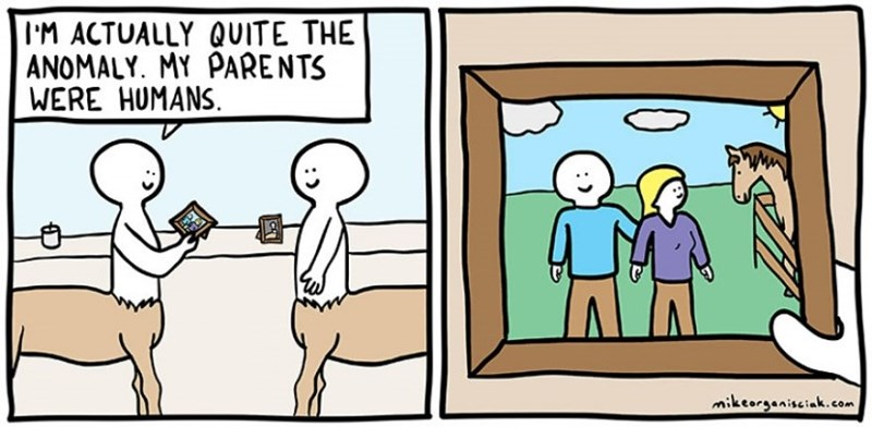 dark comic - Cartoon - IM ACTUALLY QUITE THE ANOMALY. MY PARENTS WERE HUMANS mikeorgeniseiak.com