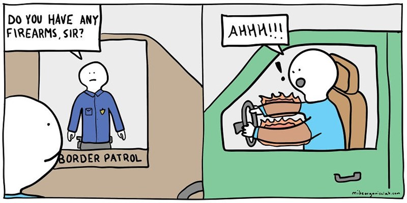 dark comic - Cartoon - DO YOU HAVE ANY FIREARMS, SIR? АННИ!! BORDER PATROL mikeorgeniseink ,cem