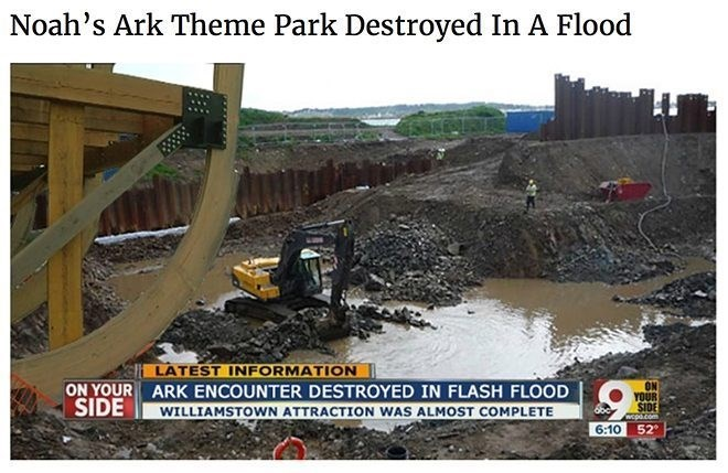 Funny meme about noah's ark being destroyed in flood.
