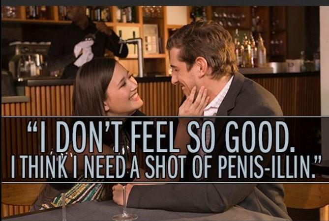 "Facial expression - ""I DONT FEEL SO GOOD. ITHINKI NEED A SHOT OF PENIS-ILLIN."""