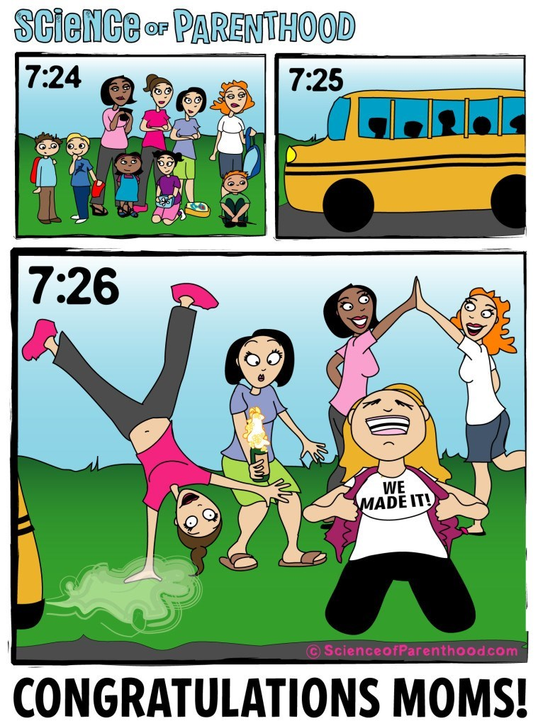 Cartoon - SCieNCe or PARENTHOOD 7:24 7:25 7:26 WE MADE IT! ScienceofParenthood com CONGRATULATIONS MOMS!