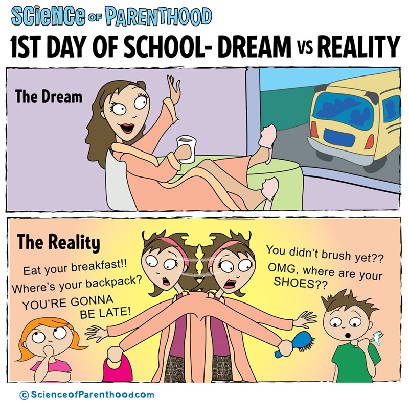 Cartoon - SCieNCe OF PARENTHOOD ST DAY OF SCHOOL- DREAM vs REALITY The Dream The Reality You didn't brush yet?? OMG,where are your Eat your breakfast!! Where's your backpack? SHOES?? YOU'RE GONNA BE LATE! ScienceofParenthood.com