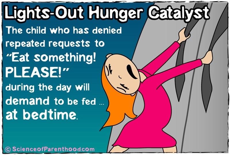 """Text - Lights-Out Hunger Catalyst The child who has denied repeated requests to """"Eat something! PLEASE!"""" during the day will demand to be fed at bedtime ScienceofParenthood.com"""