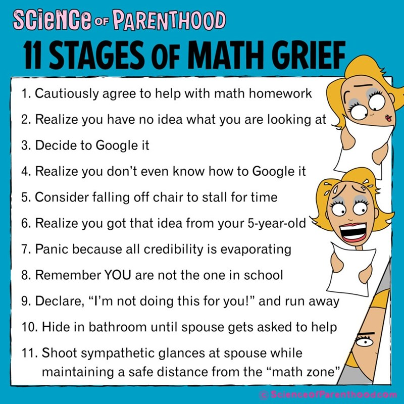 """Text - ScieNCe oF PARENTHOOD 11 STAGES OF MATH GRIEF 1. Cautiously agree to help with math homework 2. Realize you have no idea what you are looking at 3. Decide to Google it 4. Realize you don't even know how to Google it 5. Consider falling off chair to stall for time 6. Realize you got that idea from your 5-year-old 7. Panic because all credibility is evaporating 8. Remember YOU are not the one in school 9. Declare, """"I'm not doing this for you!"""" and run away 10. Hide in bathroom until spouse"""