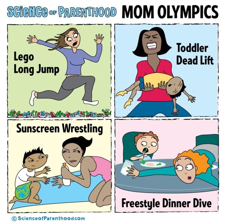 Cartoon - ScieiCe r PARENTHOOD MOM OLYMPICS Toddler Dead Lift Lego Long Jump Sunscreen Wrestling Freestyle Dinner Dive ScienceofParenthood.com