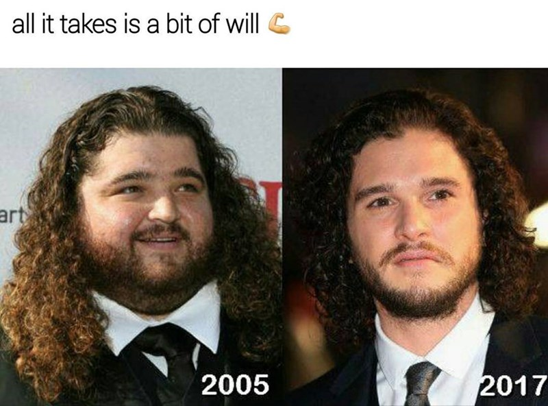 Funny meme about Hurley from lost transforming into kit harrington/jon snow.