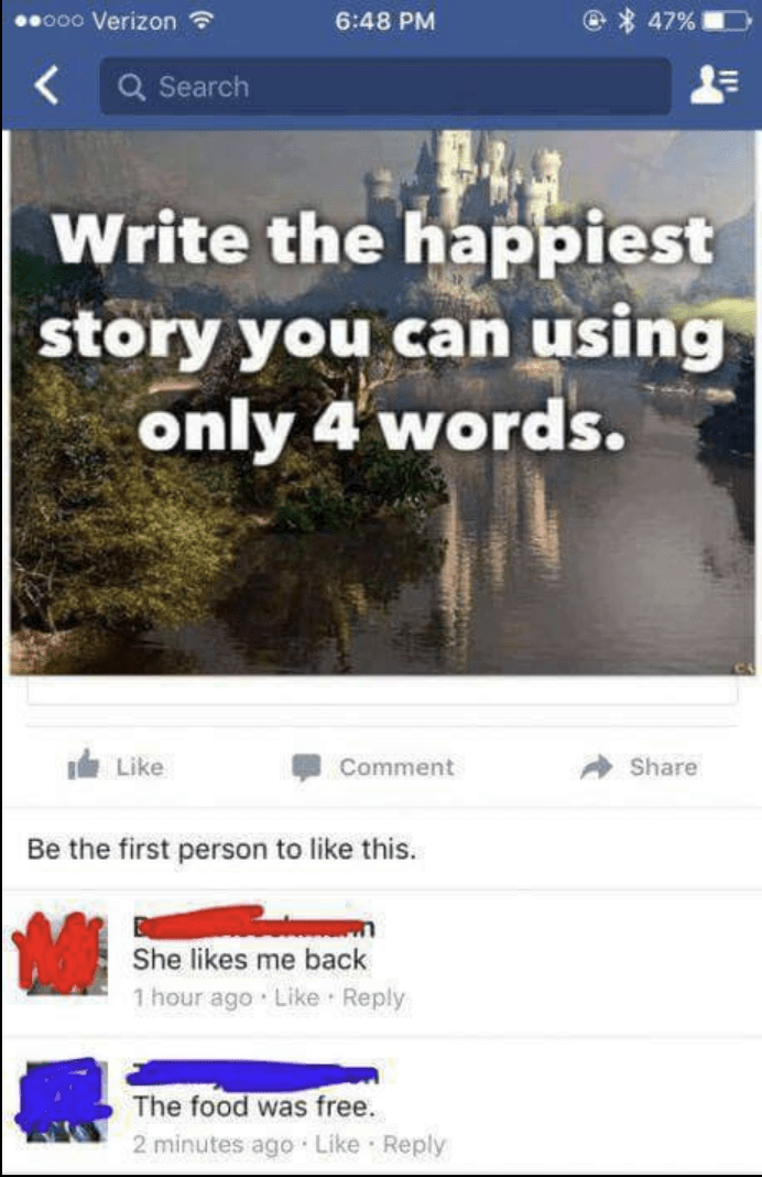 Happiest story in 4 words WIN