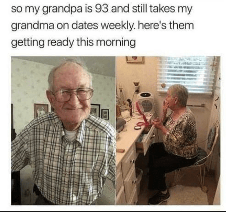 93 year old grandpa takes grandma on weekly dates.