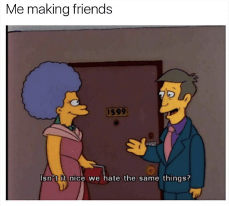 Simpsons meme about making friends when you meet someone that hates the same things you hate.