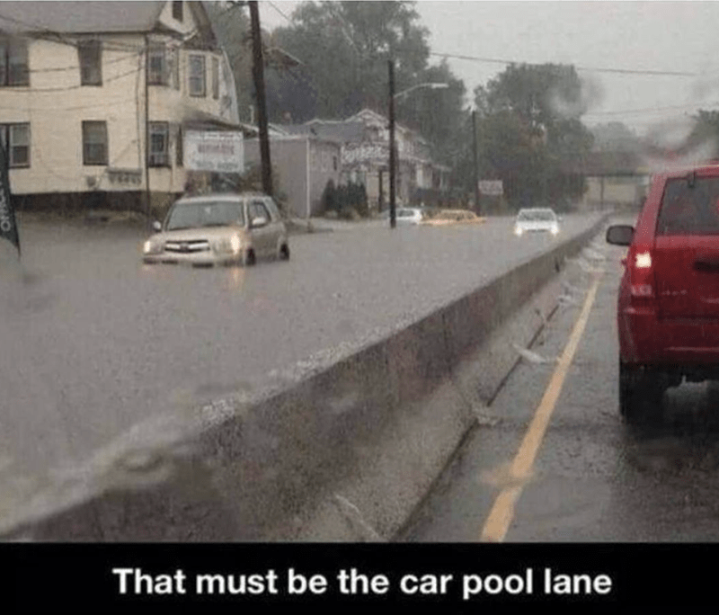 Car Pool lane meme about side of the road that is flooded