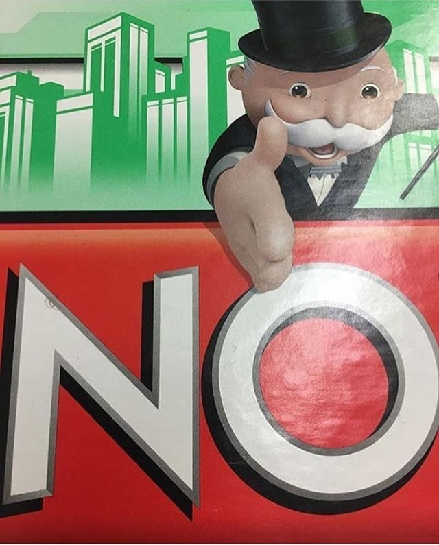 """dank meme of a cropped image of monopoly board that only shows the word """"no"""" and the monopoly man reaching for you"""