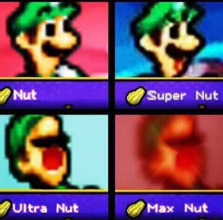 dank meme of progression images of nutting Luigi