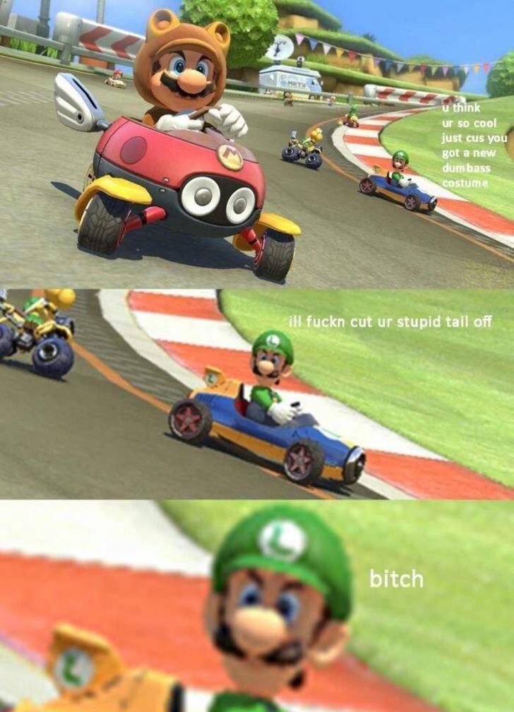 Mario Kart meme with Luigi threatening to cut Mario's tail off