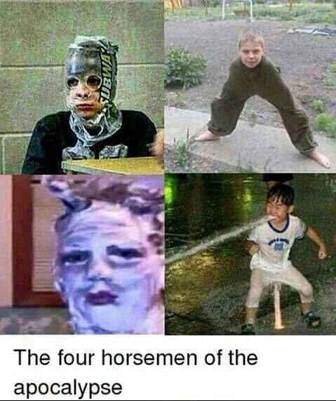 four cursed images as the four horsemen of the apocalypse