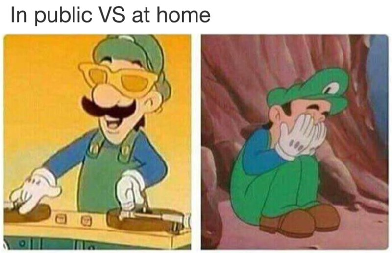 Funny meme about being fun and happy in public, sad and depressed when alone, photos of Luigi from Mario.