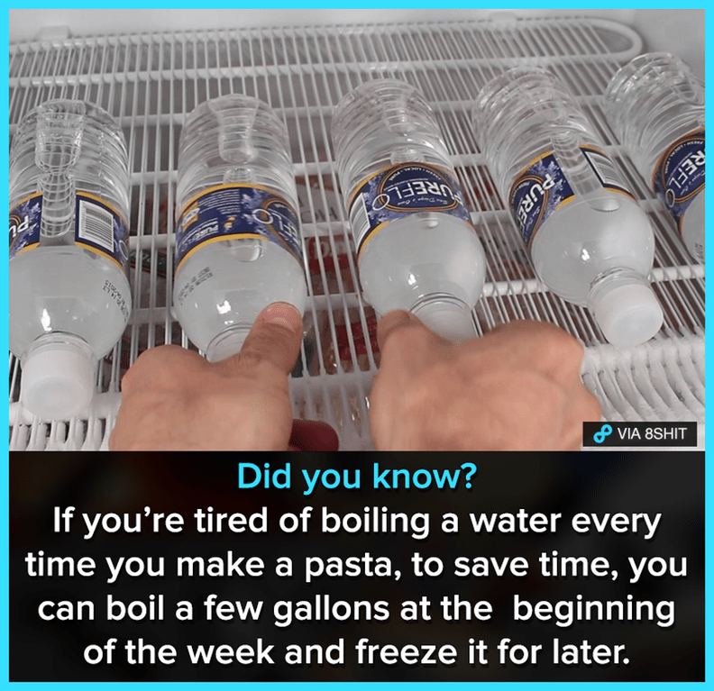 Photo caption - UREFLO VIA 8SHIT Did you know? If you're tired of boiling a water every time you make a pasta, to save time, you can boil a few gallons at the beginning of the week and freeze it for later. REFLO PURE