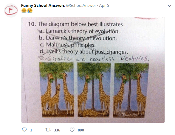 Giraffe - Funny School Answers @SchoolAnswer Apr 5 F 10. The diagram below best illustrates a. Lamarck's theory of evolution. b. Darwin's theory of evolution. c. Malthus's principles. d. Lyell's theory about past changes. e.Gicaffes are heartless creatufes ti336 1 890