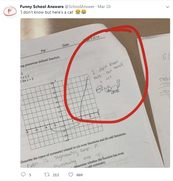 Text - Funny School Answers @SchoolAnswer Mar 10 I don't know but here's a cat' of 14 Date: Per ng piecewise defined function. 3 xS3 for x> 3 I dont Kna out heres 4hrs SHOO -HG HO -2 wtt 4 -6 -8 Describe the types of symmetry related to (a) even functions and (b) odd functions Symmuty over X eyen is mary ti 212 détermine whether the function has even odd symmetry. 5 669