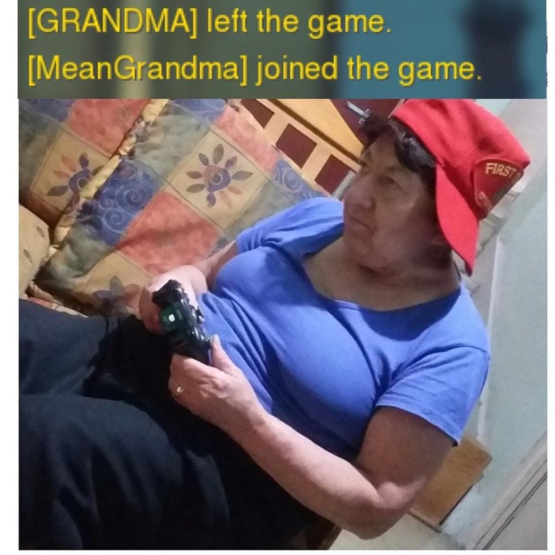 Funny meme about a grandma gaming.