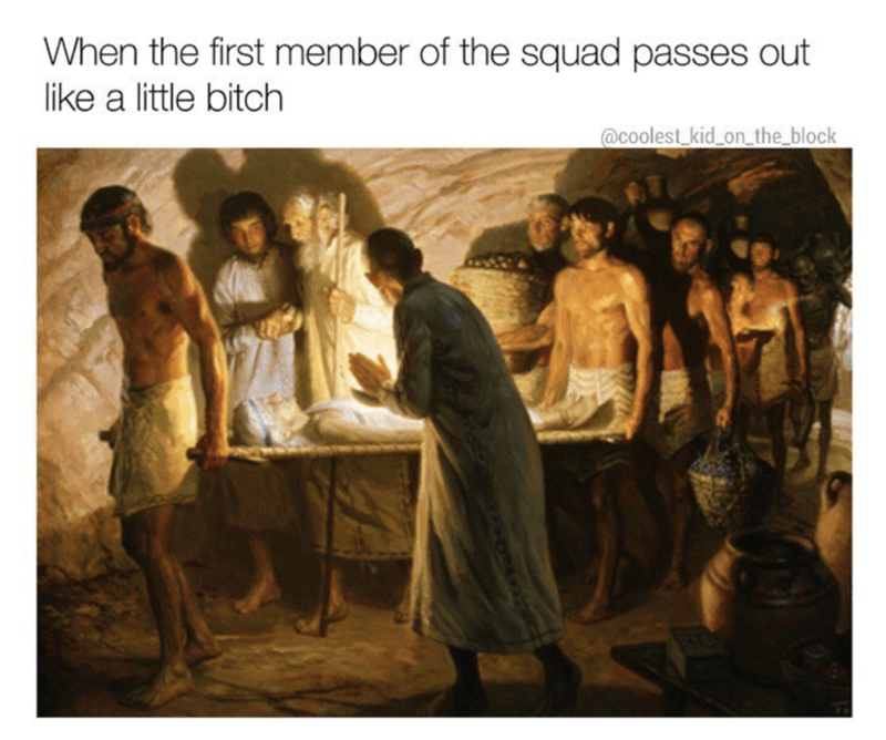 Painting - When the first member of the squad passes out like a little bitch @coolest_kid on the block