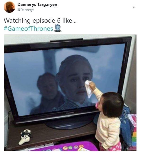 Screen - Daenerys Targaryen @Daenerys Watching episode 6 like... #GameofThrones