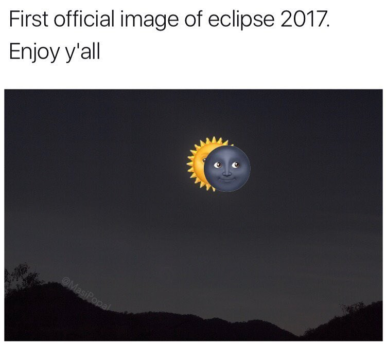 Funny meme about solar eclipse using moon and sun emojis.