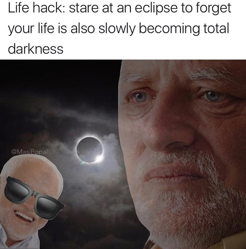 Funny meme about solar eclipse.