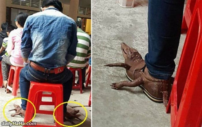 a guy with crocodile shoes